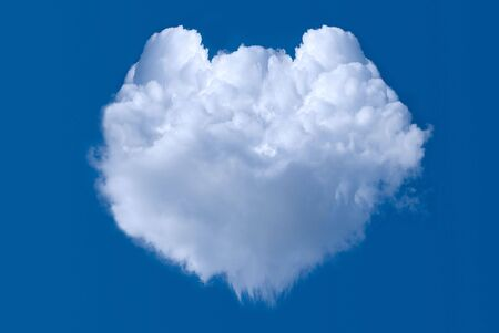 shaped: Cloud shaped heart on blue sky background