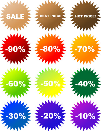 Set of colorful vector sale stickers and labels Vector