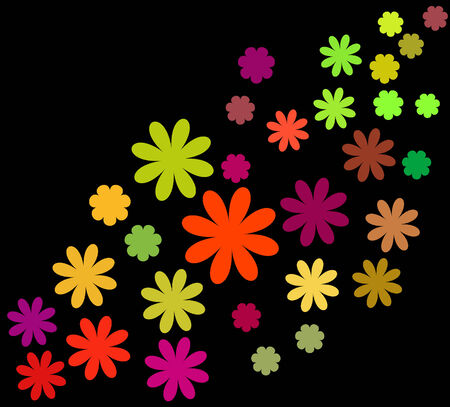 Abstract vector floral set on black background Vector