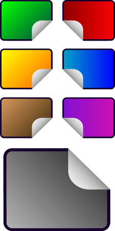 Vector color rectangular shaped empty stickers Vector