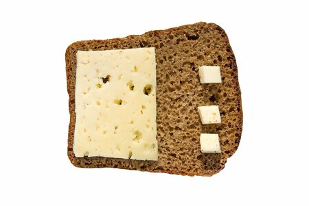 Rye bread with cheese isolated on white background photo