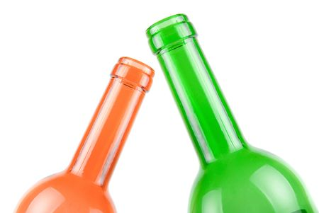 Wine bottles close-up isolated on white background photo