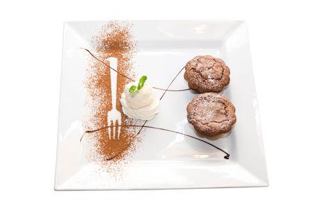 Tasty  ice-cream chocolate desserts dish isolated on white background photo