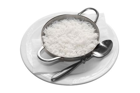 basmati: white rice in white plate with spoon isolated on white