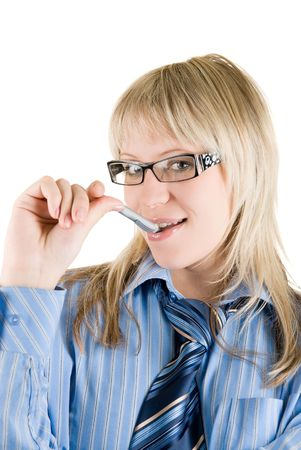 Blond Business woman with pen at mouth and glasses isolated on white Stock Photo - 5036714