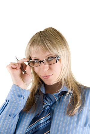 Blond Business woman set the glasses straight isolated on white  Stock Photo - 5036713