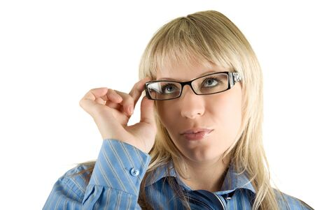 Beauty Blond Business woman with glasses isolated on white Stock Photo - 5036712