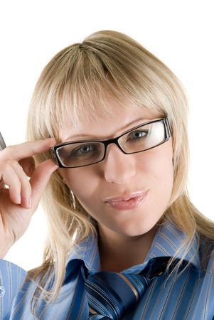 Beauty Blond Business woman with glasses looking to camera Stock Photo - 5036708