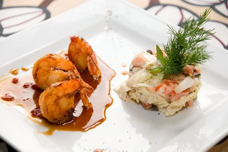 Shrimp dish food at table photo