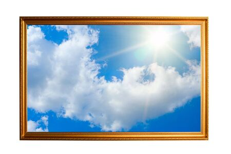 free border: golden frame filled with sky isolated on white