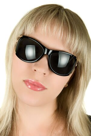 closeup portrait of blond woman in sunglasses on white background Stock Photo - 5087537