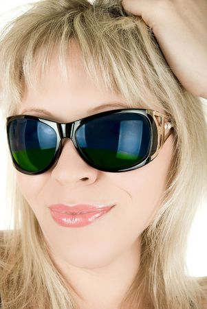 Reflection of nature landscape and in girl's sunglasses Stock Photo - 5087565