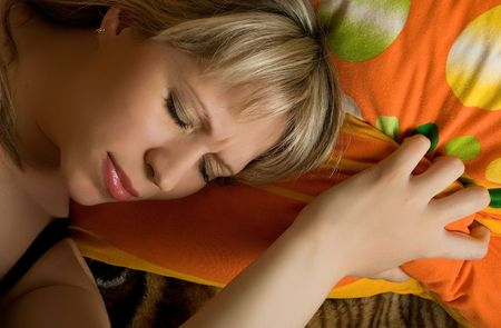sleeping pretty blond caucasian woman photo