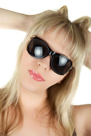closeup portrait of blond woman in sunglasses on white background photo
