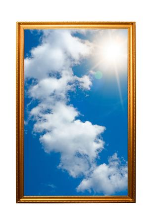 A picture of a wooden picture frame with the sky isolated on white photo
