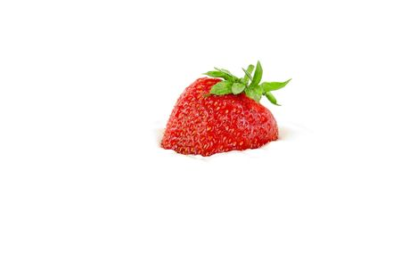 strawberry in sour cream isolated on white photo