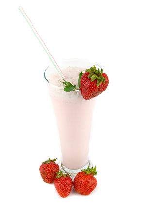 strawberry milkshakes and strawberries isolated on white photo