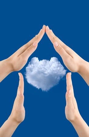 hand home gesture on the blue sky background Stock Photo - 5168115