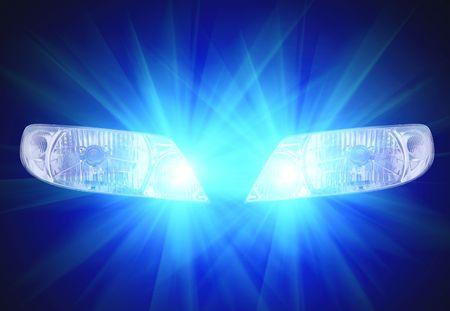 automobile lampes frontales sur fond noir