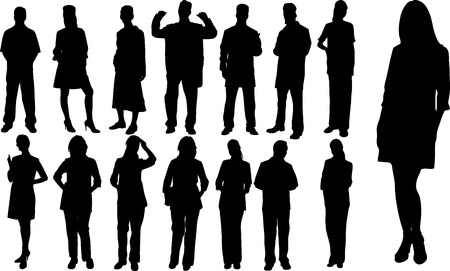 businessman jumping: Abstract vector people silhouette on white