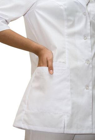 Close up of White doctors coat isolated on white  photo