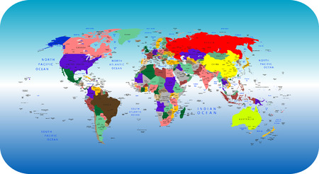 Vector colorful political map of the World Vector