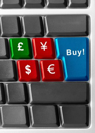 Computer keyboard concept of currency buyingselling photo