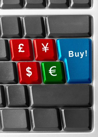 computer keyboard with currency buttons Stock Photo