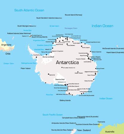 Vector color Map of Antarctica  Illustration