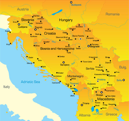 balkan peninsula: Vector color map of Balkan region Illustration