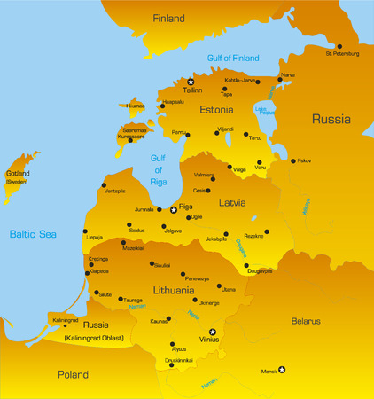 Map of Baltic region countries Vector