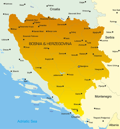 balkan: Vector map of Bosnia and Herzegovina country Illustration
