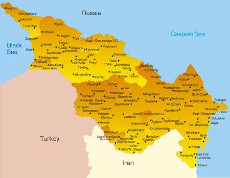 Vector map of Caspian region countries Vector