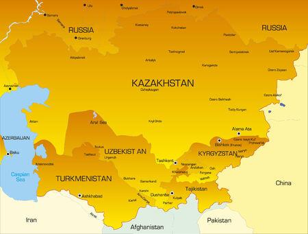 landlocked country: Mapa de color Vector de los pa�ses de Asia Central