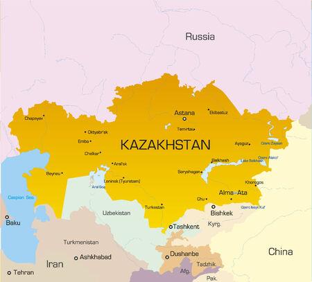 kazakhstan: Vector illustration of KAZAKHSTAN map
