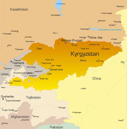 kyrgyzstan: Mapa de color Vector del pa�s Kirguist�n Vectores