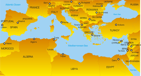 Vector color map of Mediterranean region countries