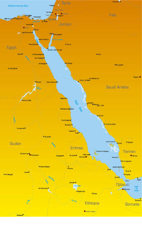 nile river: Vector color map of Red Sea region countries Illustration