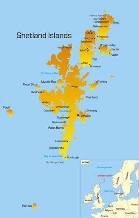 shetlander: Vector kleur kaart van de Shetland Islands