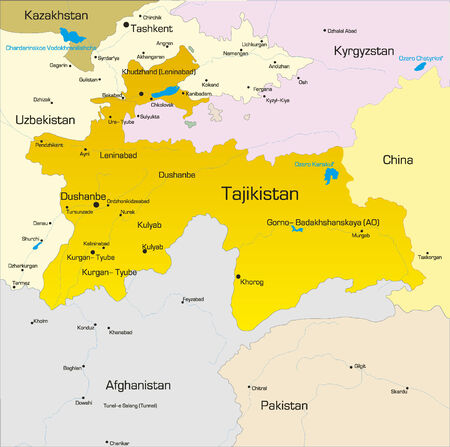 landlocked country: Vector color map of Tajikistan  country