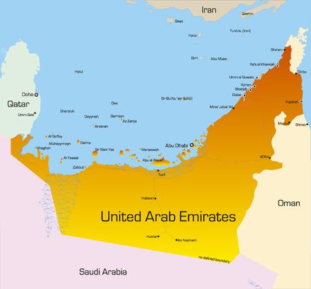 Mapa de color Vector de Emiratos Árabes Unidos, país