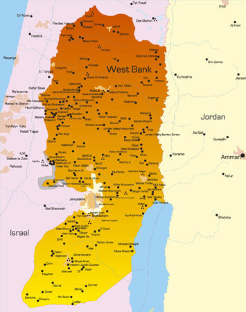 Vector color map of West Bank country  Vector