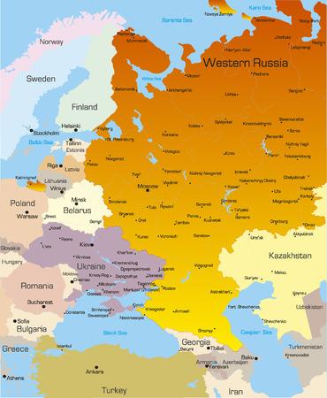 Mapa de color vectorial de la región del oeste de Rusia