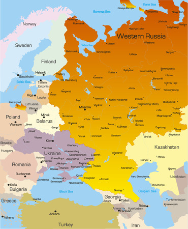 Vector color map of West Russia region