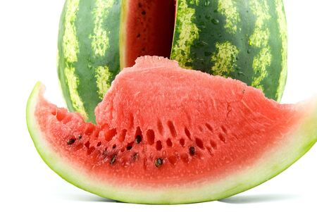 Close up of Ripe watermelon isolated on white background. photo