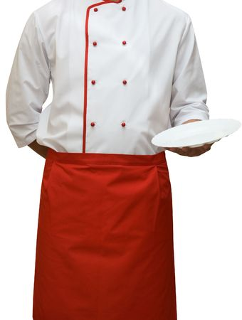 dinner wear: Cook uniform man isolated on white