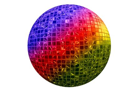 Color disco ball isolated on white background photo