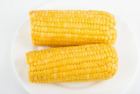 ripe yellow Corn isolated on white background photo