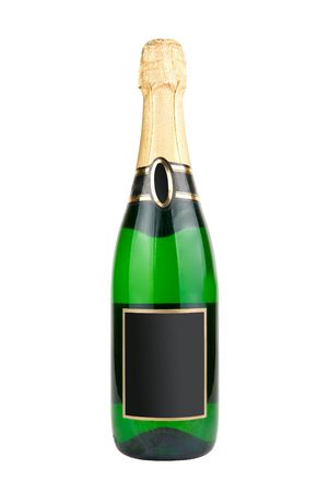 Champagne bottle isolated over white background photo