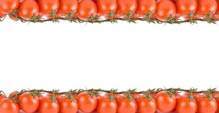 red tomatoes frame isolated on a white background  photo
